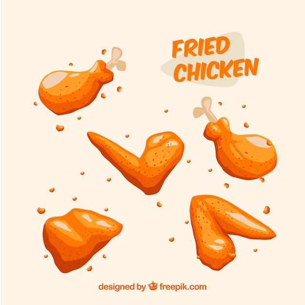 프라이드 치킨의 구색 무료 벡터