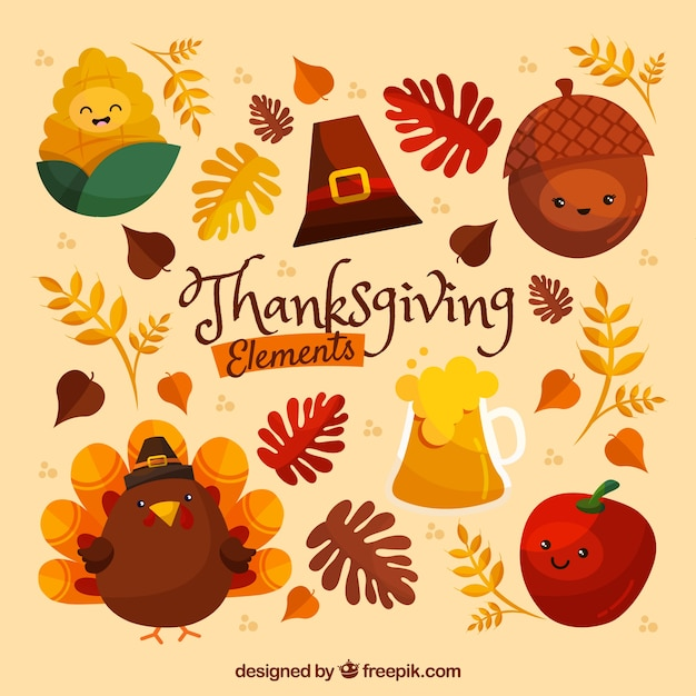 Assortment of friendly thanksgiving characters Free Vector