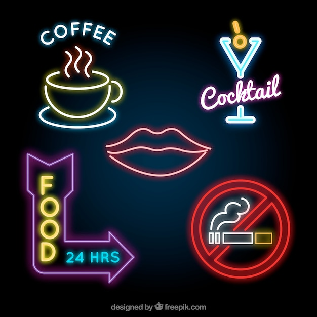 Assortment of great neon light placards Free Vector
