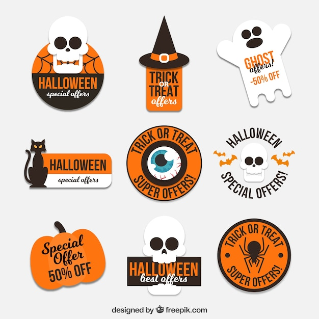 Assortment of halloween stickers in flat design Free Vector