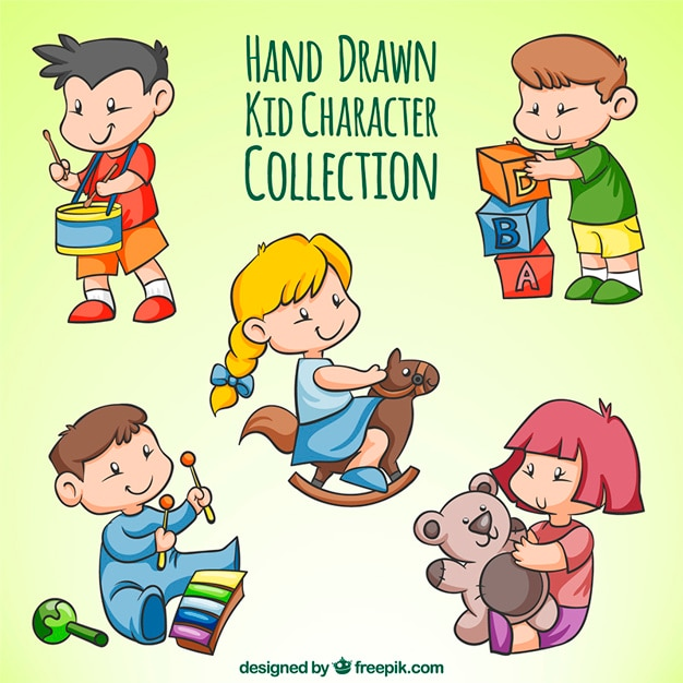 Assortment of hand-drawn children\ playing