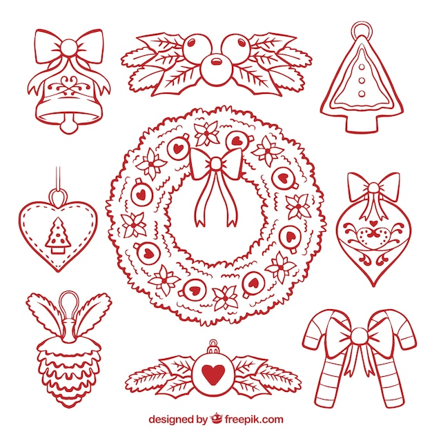 Assortment of hand-drawn christmas decorations\ and floral wreath