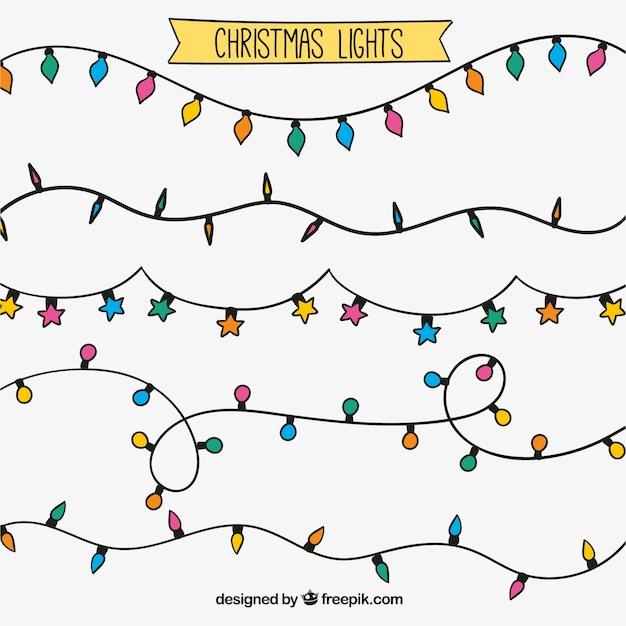 Assortment Of Hand Drawn Christmas String Lights Vector