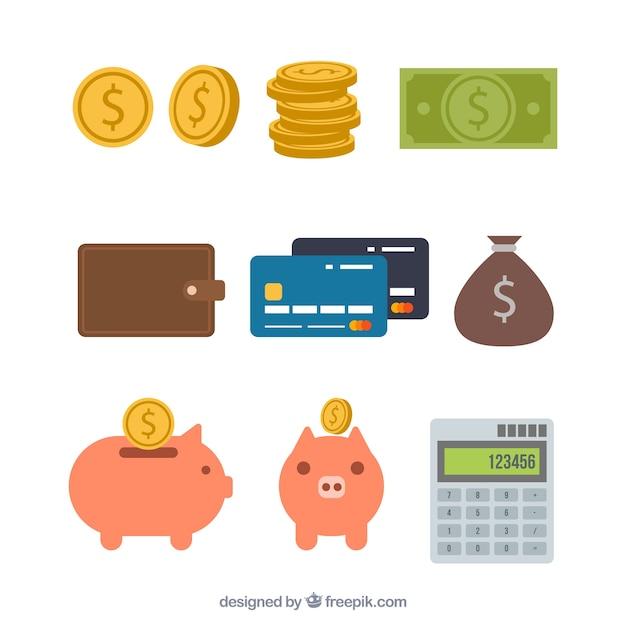 Ассортимент денежных элементов в плоской конструкции Premium векторы