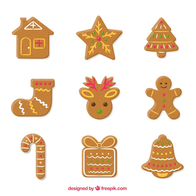 Assortment of nice and delicious gingerbread cookies Free Vector