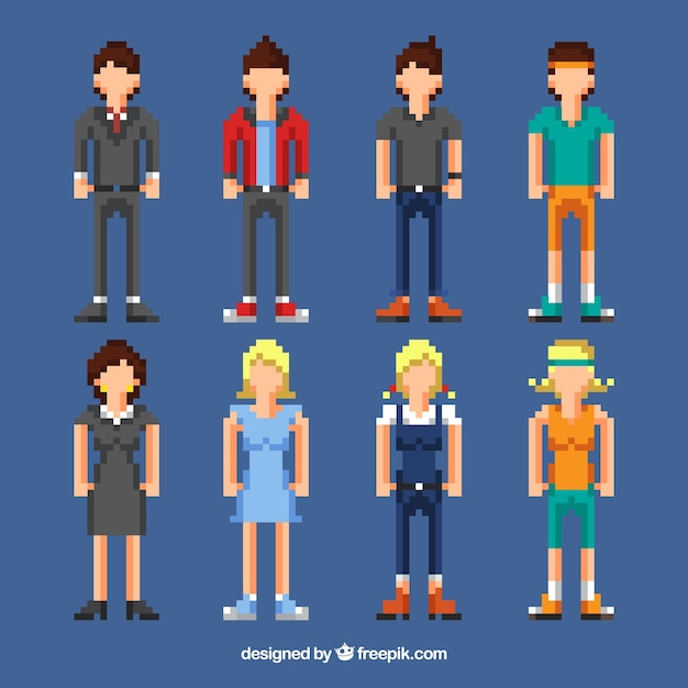 Assortment of people in pixel style
