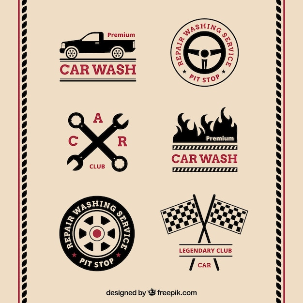 Assortment Of Retro Car Logos With Red Details Vector Free Download