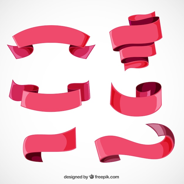 Assortment of six red ribbons Free Vector
