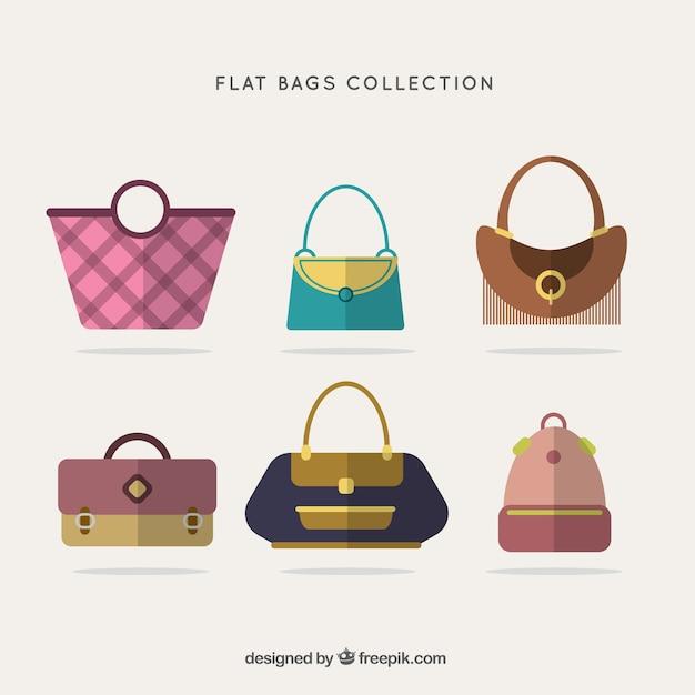 Assortment Of Stylish Handbags In Flat Design Free Vector