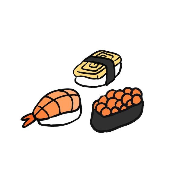 Assortment of sushi Japanese food\ illustration
