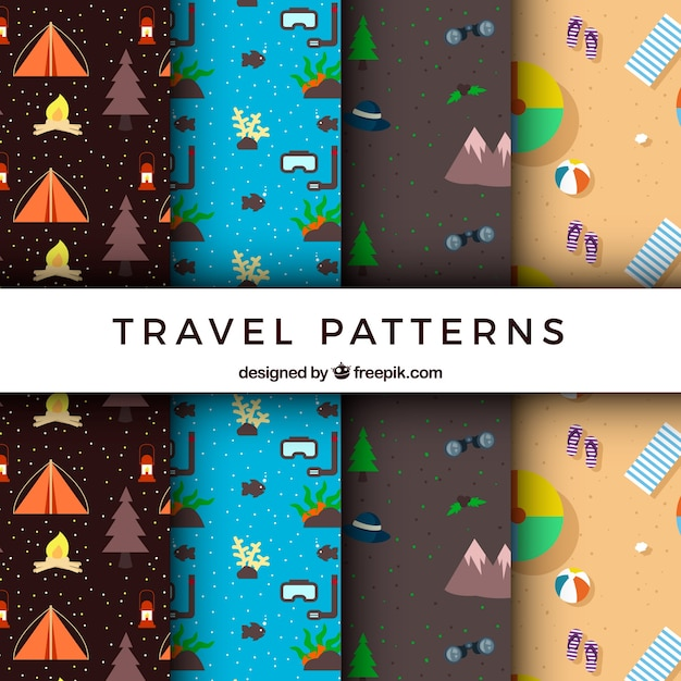Assortment of travel patterns with elements of\ adventure and summer