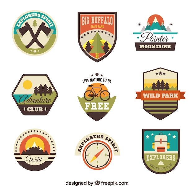 Assortment of vintage adventure badges