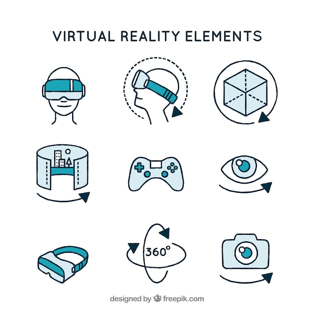 Assortment of virtual reality elements Free Vector