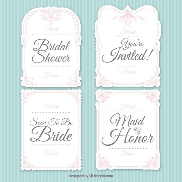 Assortment of ornamental bridal shower frames Free Vector