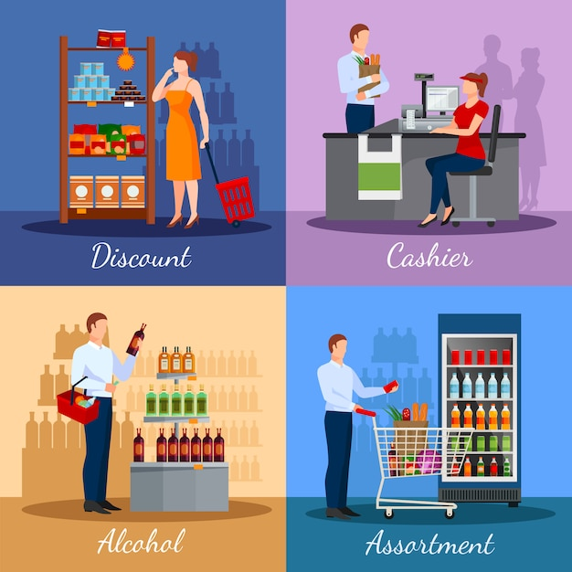 Assortment of products in supermarket Free Vector