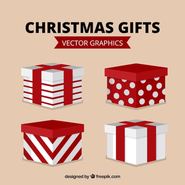 Assortment of red and white christmas gifts Free Vector