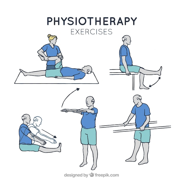 Assortment of rehabilitation exercises in hand-drawn style Free Vector