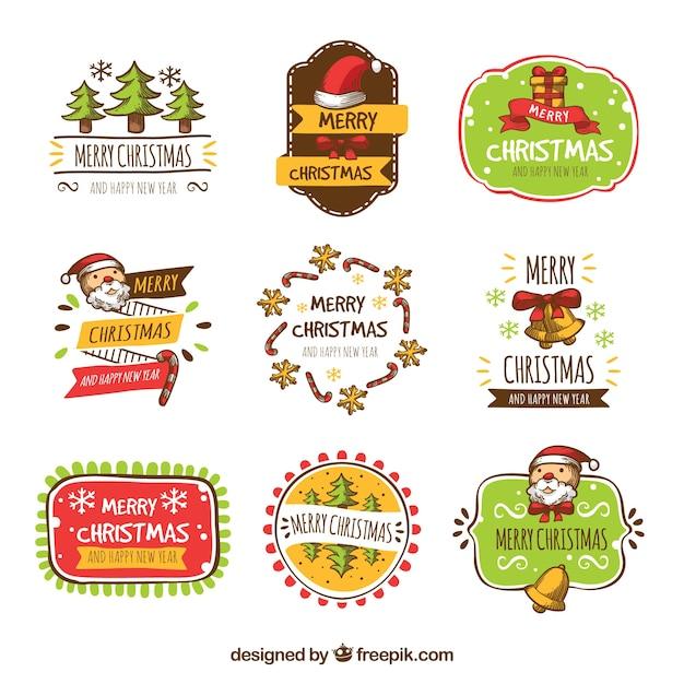 Assortment of retro christmas stickers Free Vector