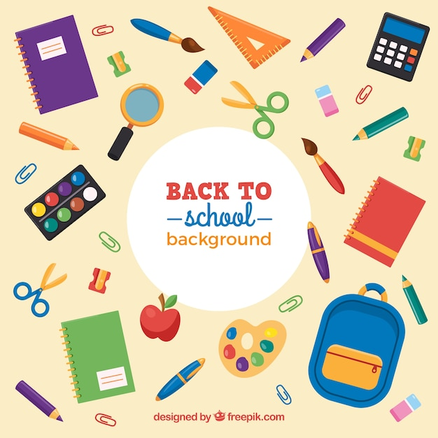 Assortment of school materials Free Vector