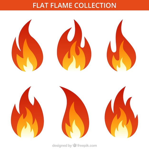 Assortment of six flat flames Free Vector