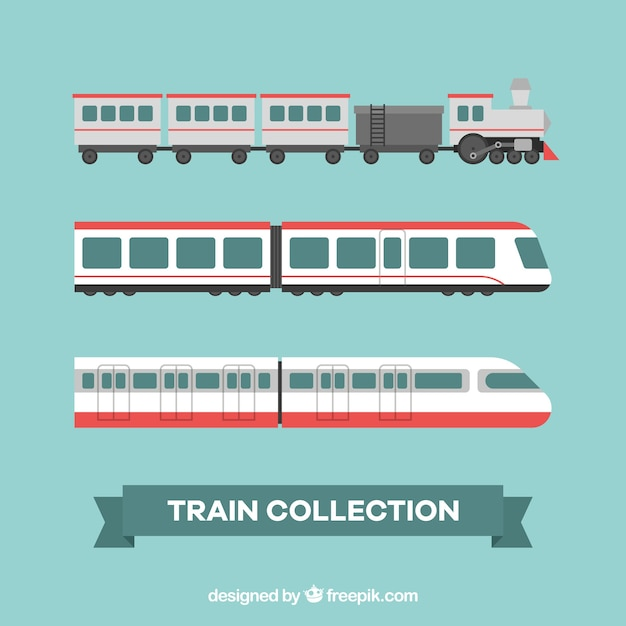 Assortment of three flat trains Free Vector