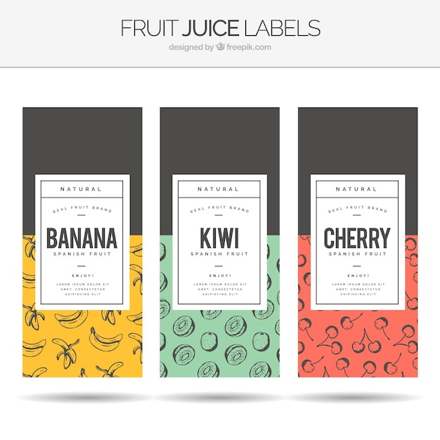 Assortment of three fruit juice labels Free Vector