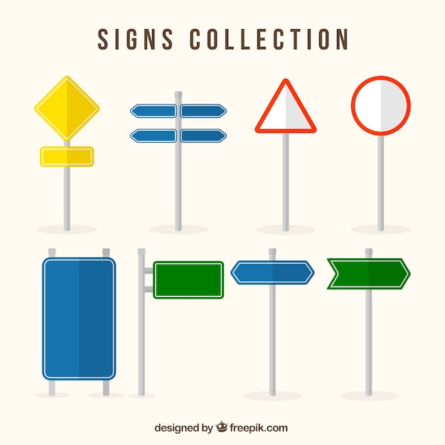 Assortment of traffic signs and colored in flat design Free Vector