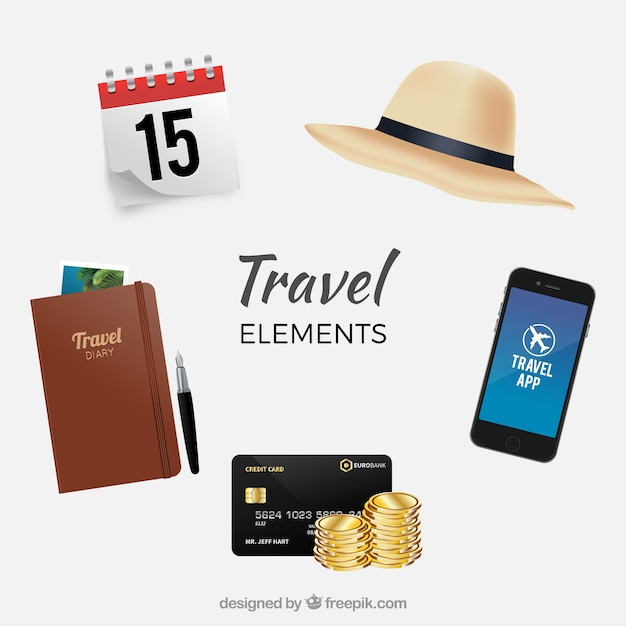 Assortment of travel elements Free Vector
