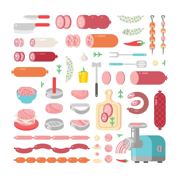Assortment variety of processed cold meat products  icons. Premium Vector