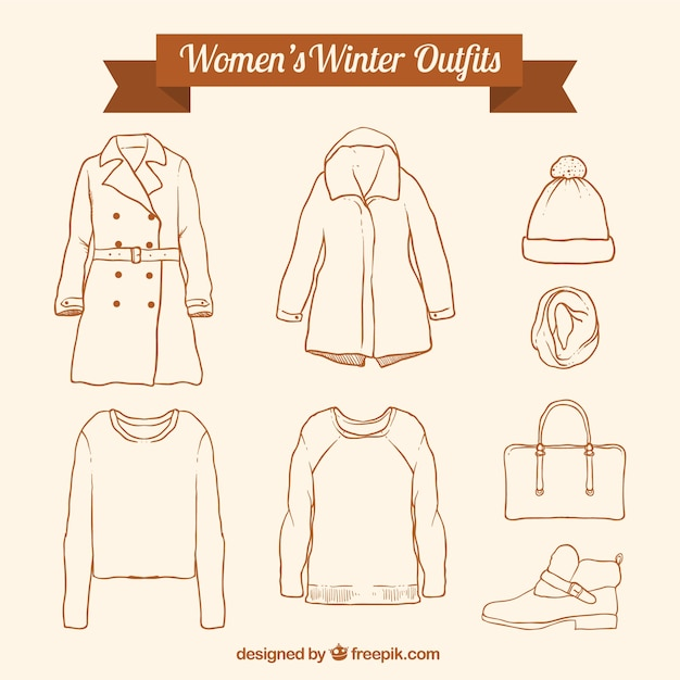 Assortment of winter clothing and hand drawn accessories Free Vector