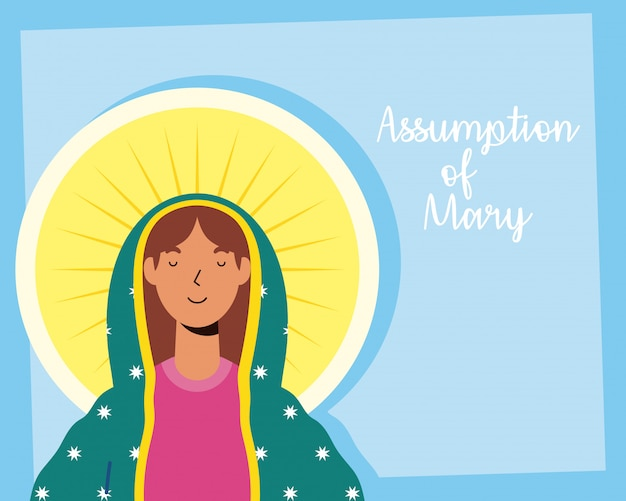 Assumption of beautiful mary virgin with lettering Premium Vector