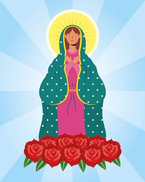 Assumption of beautiful mary virgin with roses Premium Vector