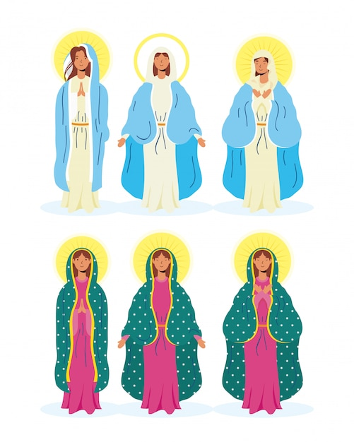 Assumption of beautiful mary virgins group Premium Vector