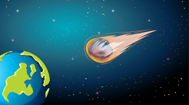 Asteroid falling to earth scene Free Vector