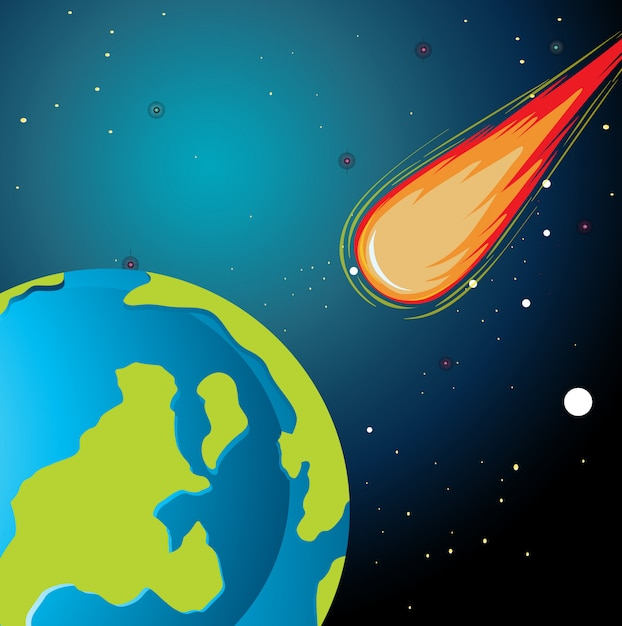 Asteroid falling to earth Free Vector
