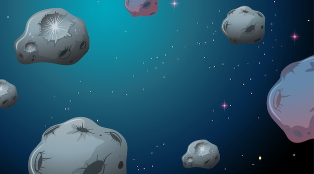 Asteroids in space scene Free Vector