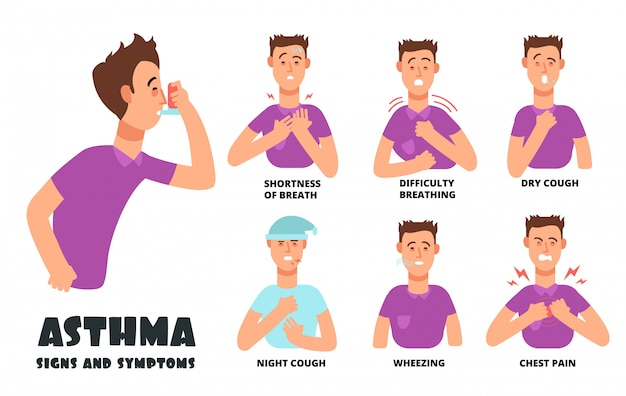 Premium Vector Asthma Symptoms With Coughing Cartoon Person