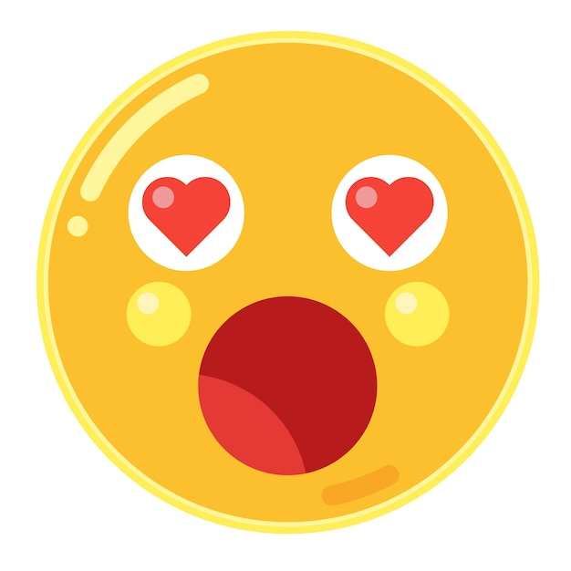 Astonished face with heart eyes emoticon | Premium Vector