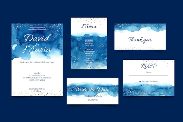 Astral and celestial wedding stationery Free Vector