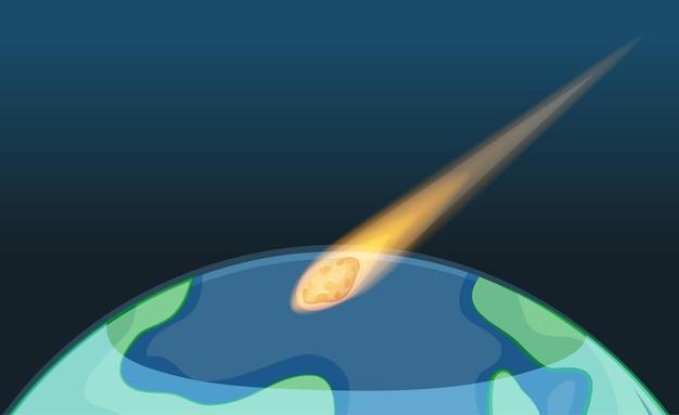 空白の空で地球に落ちる小惑星 無料ベクター