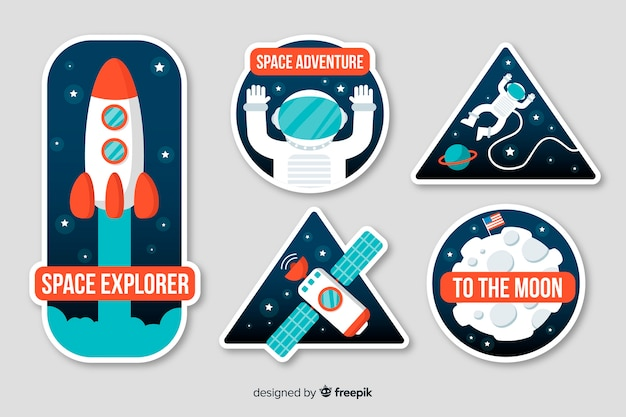 Astrological space sticker collection Free Vector