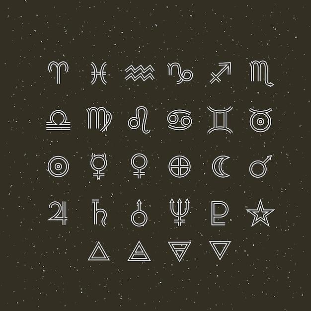 Символы астрологии и мистические знаки. набор астрологических графических элементов. коллекция икон. Premium векторы
