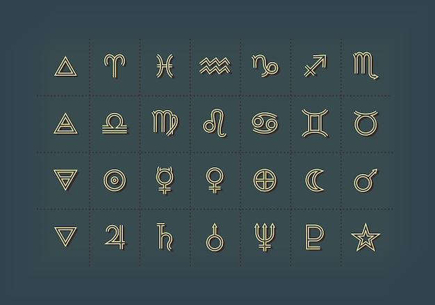 占星術のシンボルと神秘的な兆候。占星術のグラフィック要素のセットです。アイコンのコレクション。 Premiumベクター