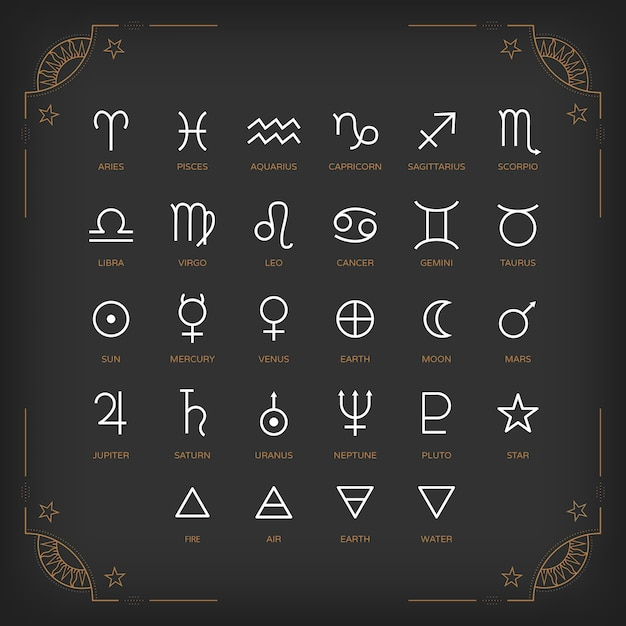 Astrology symbols and mystic signs. set of astrological graphic  elements.  icons collection. Premium Vector