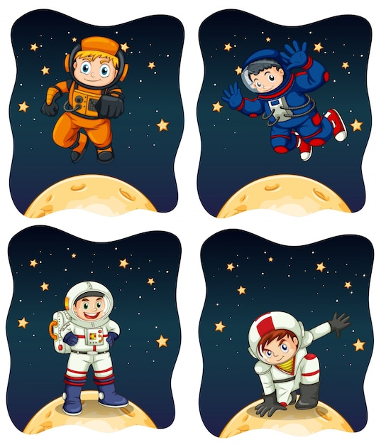 Astronaunts flying in the space Free Vector