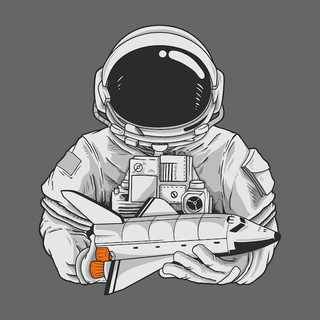 宇宙飛行士と宇宙船のキャラクター Premiumベクター