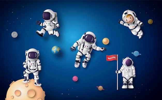 Astronaut astronaut floating in the stratosphere . paper art and craft style. Premium Vector