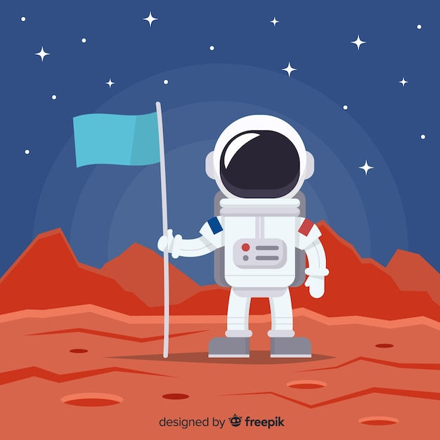 Astronaut background in space Free Vector
