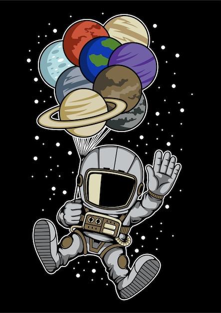 Планеты космонавт воздушный шар Premium векторы