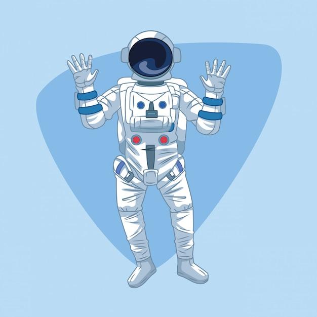 Astronaut over blue Premium Vector
